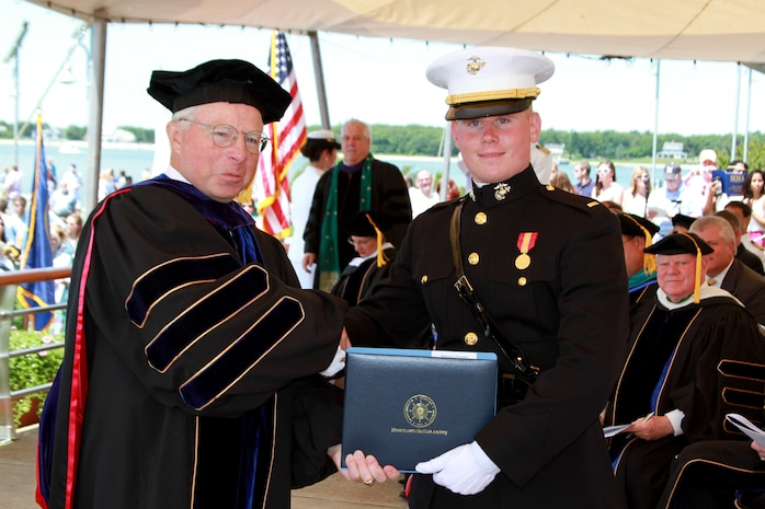 2nd Lt. Christopher Affannato, from Haverhill, Mass., graduates from Massachusetts Maritime Academy, June 21. Affannato was commissioned as a 2nd lieutenant in the Marine Corps, that day, prior to the graduation ceremony. (Official U.S. Marine Corps photo by Sgt. Richard Blumenstein)