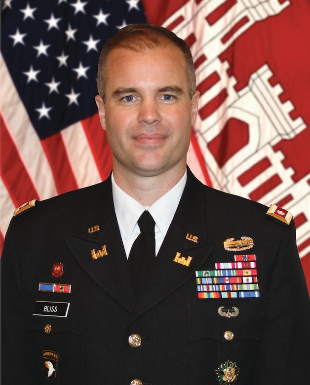As the 58th Commander of the Philadelphia District, Lieutenant Colonel Michael A. Bliss commands a 500-person District. District missions include dredging waterways for navigation, protecting communities from flooding and coastal storms, responding to natural and declared disasters, regulating construction in the nation's waters and wetlands, remediating environmental hazards, restoring ecosystems, building facilities for the Army and Air Force, and providing engineering, contracting and project management services for other government agencies upon request.