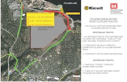 Map shows detour routes vehicles will be directed to during hour-long closures for blasting at Folsom Lake Crossing Road beginning July 10 as part of the fourth phase of the Corps' auxiliary spillway project.