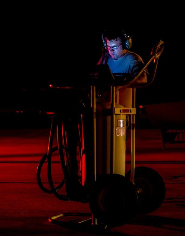 A 437th Airlift Wing maintainer performs routine maintenance and system checks on a C-17 Globemaster III June 25, 2014, at Joint Base Charleston, S.C. The maintainers perform checks and maintenance around the clock to ensure the aircraft are ready to fly. (U.S. Air Force photo/ Airman 1st Class Clayton Cupit)