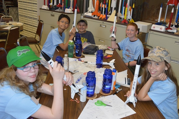 Students build rockets during Aerospace Camp at the National Museum of the United States Air Force. (U.S. Air Force photo by Ken LaRock)