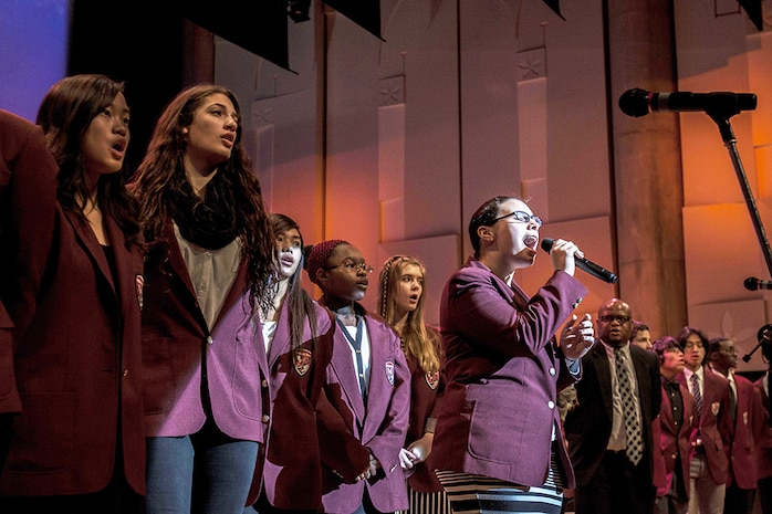 Students from Matthew C. Perry High School sing during the 2014 U.S.-Japan Friendship Concert that took place inside the Iwakuni Sinfonia Feb. 15. Several schools from out in Iwakuni and Matthew C. Perry Schools attended the event.
