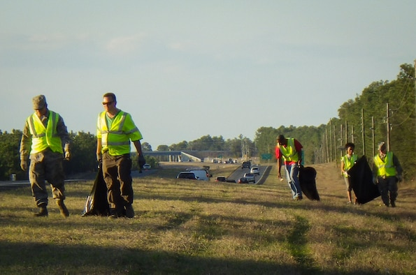 More than 18 members of the 919th Special Operations Wing participated in a clean up of Hwy 85 after the unit training assembly March 1 at Duke Field, Fla.  The 919th has a two-mile stretch on North and Southbound Hwy 85 to keep clean as part of the Adopt-a-Highway program.  (Courtesy photo)