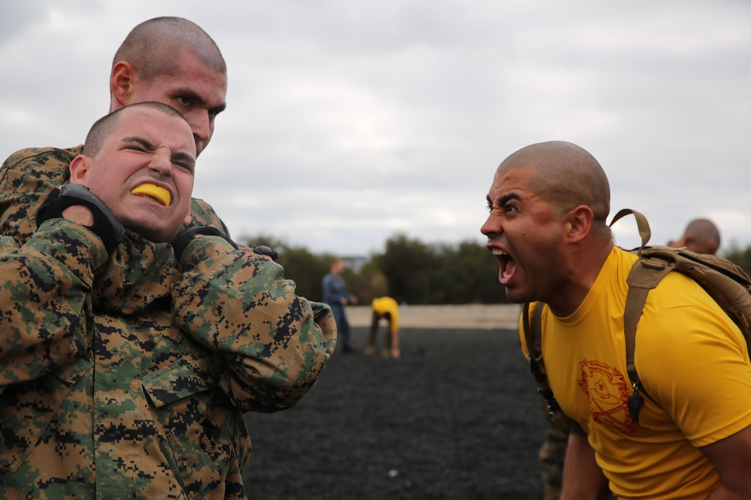 Sgt. Milton D. Zavala, Platoon 2169 drill instructor, observes and loudly encourages Company H recruits to apply proper technique as they progress through choke holds during a Marine Corps Martial Arts Program training session. Recruits must learn to properly execute each exercise to earn tan belts in MCMAP; a graduation requirement.