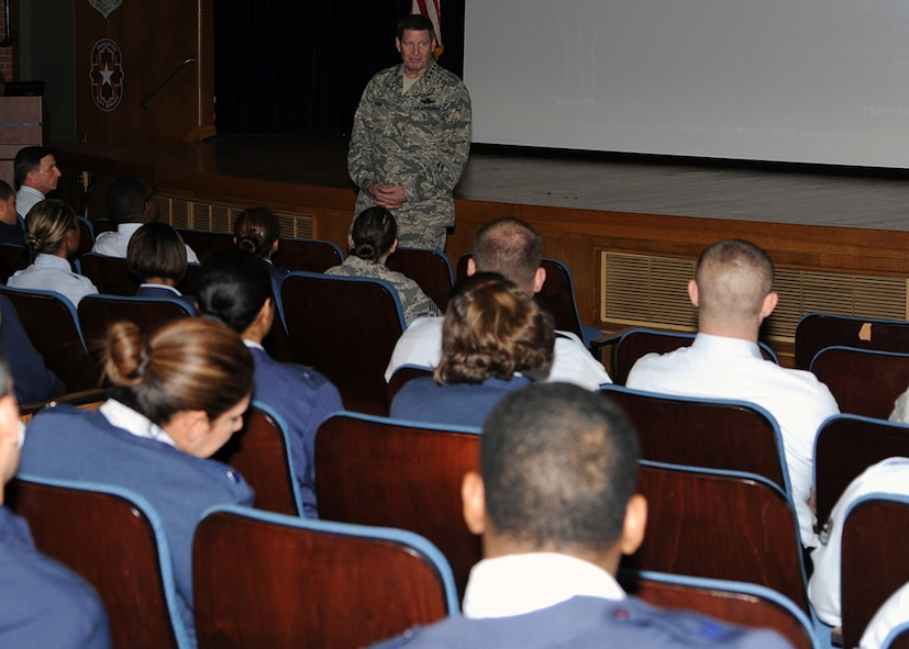 Gen. Robin Rand, Air Education and Training Command commander, speaks to 59th Medical Wing noncommissioned officers during a commander's call at the Wilford Hall Ambulatory Surgical Center Auditorium, Joint Base San Antonio-Lackland, Texas, Feb. 24, 2014. Rand spoke about the importance of the medical mission and of leading and educating Airmen. This was the general's first visit to the 59 MDW since taking command of AETC in October 2013. (U.S. Air Force photo/ Staff Sgt. Jason Huddleston)