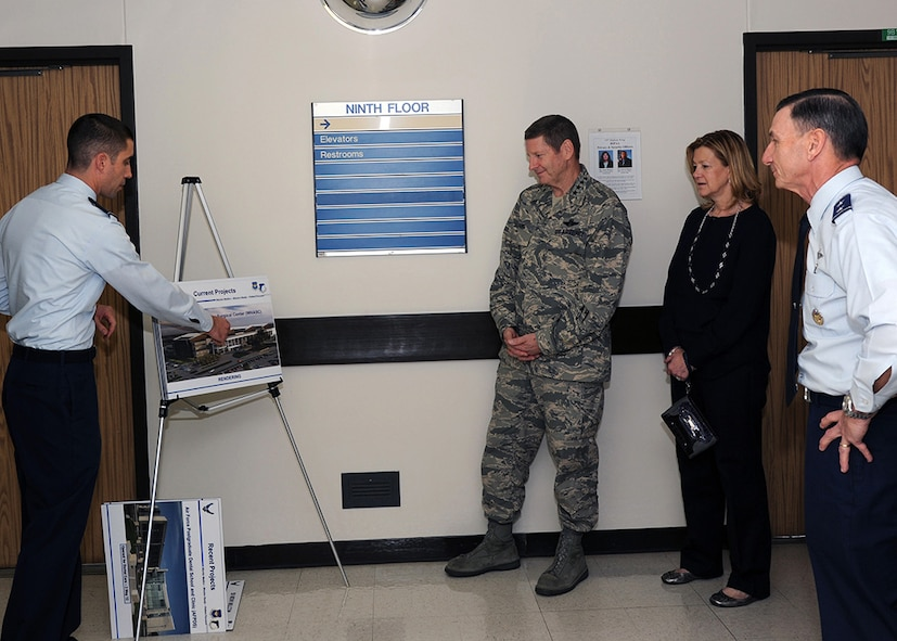 Maj. Patrick Ryan, Air Force Medical Support Agency Health Facilities Division, briefs Gen. Robin Rand, Air Education and Training Command commander, on several upcoming medical military construction projects during a visit to the Wilford Hall Ambulatory Surgical Center, Joint Base San Antonio-Lackland, Texas, Feb. 24, 2014. Future projects include the new WHASC, the San Antonio Military Medical Center Hyperbaric Medicine Addition, and the Reid Clinic replacement. (U.S. Air Force photo/ Staff Sgt. Jason Huddleston)
