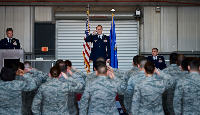 Lt. Col. Brian Stahl salutes members of the 919th Special Operations Mission Support Group as their new commander during his assumption of command ceremony at Duke Field, Fla., March 1.  (U.S. Air Force photo/Tech. Sgt. Samuel King Jr.)