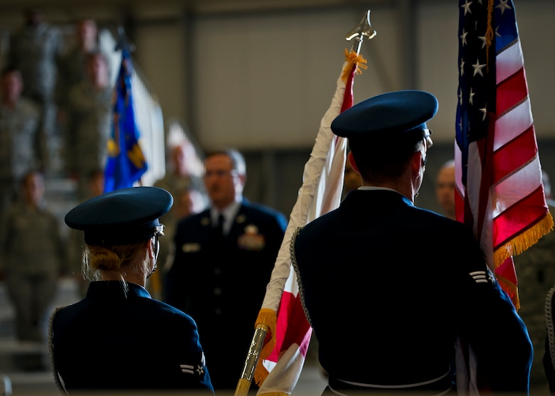 The Eglin Air Force Base Honor Guard presents the colors during the 919th Special Operations Mission Support Group assumption of command ceremony at Duke Field, Fla., March 1.  Lt. Col. Brian Stahl took command of the wing at the ceremony. (U.S. Air Force photo/Tech. Sgt. Samuel King Jr.)