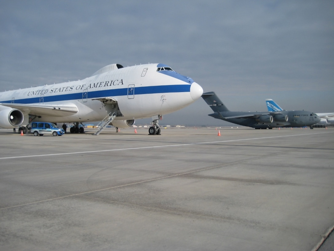 An E-4 Advanced Airborne Command Post sits on the flight line during a visit from Leon Panetta, 23rd Secretary of Defense, Feb. 6, 2013, at Ankara, Turkey. Ankara has been and will continue to be host to some of our nation's most important people. (U.S. Air Force photo by Lt. Col. Emmanuel Cohan/Released)