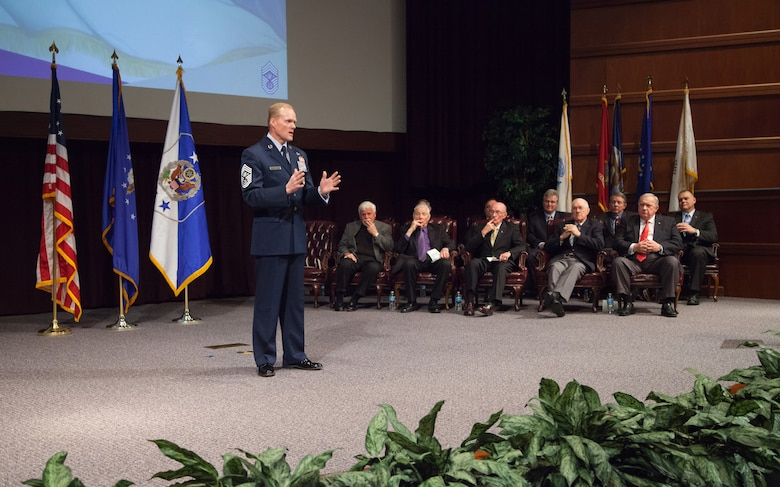Maxwell Air Force Base, Ala. - Chief Master Sergeant of the Air Force James A. Cody, provides closing comments during a CMSAF positional colors ceremony at the Air Force Senior Noncommissioned Officer Academy, Thursday, Feb. 27, 2014. During the ceremony, Cody presented the positional colors to former Chief Master Sergeants of the Air Force and surviving family members. (USAF photo by Senior Master Sgt. Lee E. Hoover Jr./Released)