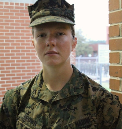 U.S. Marine Corps Pfc. Callahan Brown is the Company Honor Graduate from Platoon 4007, Papa Co., 4th Recruit Training Battalion, who graduated Feb. 28, 2014.  She was recruited out of Recruiting Station Frederick by Staff Sgt. Craig Taylor. (U.S. Marine Corps photo by Sgt. Amber Williams/Released)