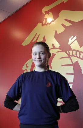 Poolee Abby Thomas, 18, out of Recruiting Substation Lakewood, will have the opportunity to earn the title United States Marine when she reports for recruit training in April. Thomas managed to stay committed to her decision to join even when initially she could not obtain parental consent. Thomas persevered, showing up to each pool function and staying involved until she was able to join at the age of 18. (U.S. Marine Corps photo by Sgt. Timothy Stewman/Released)