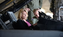 Secretary of the Air Force Deborah Lee James sits in the co. U.S. Air Force Col. Pauckpit of an F-16CJ Fighting Falcon Feb. 27. 2014, at Shaw Air Force Base, S.C. Murray, the 20th Operations Group commander, briefed James on the capabilities of the F-16 during the second stop of her three-base Air Combat Command immersion tour. (U.S. Air Force photo/Airman 1st Class Michael A. Cossaboom)