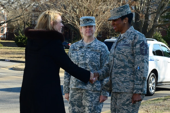 Secretary of the Air Force Deborah Lee James is welcomed by Col. Jayne Jansen and Chief Master Sgt. Trae King Feb. 27, 2014, at Langley Air Force Base, Va. During the meeting, the three leaders discussed joint basing and the concerns of today's modern force with James. Jansen is the 633rd Air Base Wing vice commander and King is the 633rd ABW command chief. (U.S. Air Force photo/Airman 1st Class Kimberly Nagle)