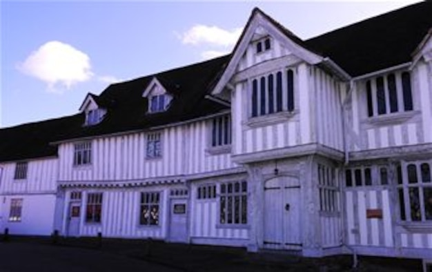 The Guild Hall, now a museum in Lavenham, Suffolk, is a big part of the town's history, which dates back to the times of William the Conqueror and the Norman Conquest in 1066. In 1257, Lavenham received its first Market Charter, and less than a century later, records show the town had already become a cloth-making centre of England. It was during this time the town became involved in the wool trade. Today, Lavenham is famous for its half-timbered, crooked houses. (U.S. Air Force photo by Karen Abeyasekere/Released)
