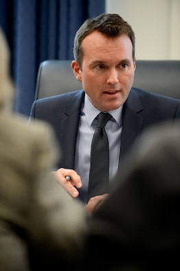 """Under Secretary of the Air Force Eric Fanning presents the 2015 Air Force space program budget in a media briefing March 5, 2015, at the Pentagon. Fanning also discussed the importance of space programs, provided an overview of Air Force space priorities in the future and called for the protection of this """"precious and perishable strategic resource."""" (U.S. Air Force photo/Scott M. Ash)"""