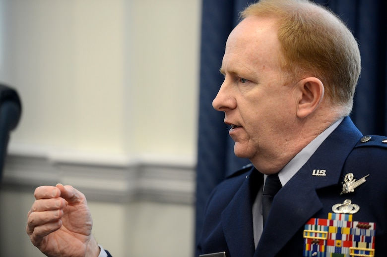 Maj. Gen. Robert McMurry Jr., the director, Space Programs, Office of the Assistant Secretary for Acquisition, answers questions during the 2015 Air Force space program budget media briefing March 5, 2015, at the Pentagon. McMurry provided details on a variety of space programs to include GPS III, Advanced Extremely High Frequency, and new entrant certification. (U.S. Air Force photo/Scott M. Ash)