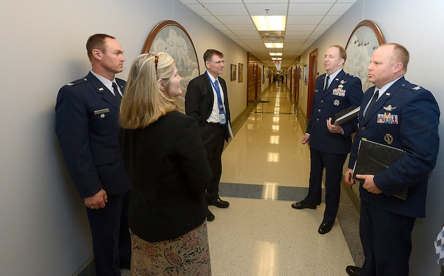 Maj. Gen. Robert McMurry Jr., the director, Space Programs, Office of the Assistant Secretary for Acquisition, and Dr. Troy E. Meink, the deputy Under Secretary of the Air Force for Space, answer questions following the presentation of the 2015 Air Force space program budget March 5, 2015, at the Pentagon. (U.S. Air Force photo/Scott M. Ash)