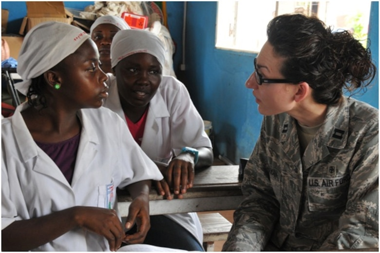 Capt. Crystal Karahan, U.S. Air Forces in Europe - Air Forces Africa international health specialist talks to Cameroonian nursing students during a clean site delivery workshop in Douala, Cameroon. (Courtesy photo)