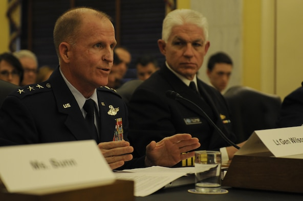 Lt. Gen. Stephen Wilson, Air Force Global Strike Command commander, testifies before the Senate Armed Service Committee's Subcommittee on Strategic Forces, March 5. Wilson appeared before the subcommittee to answer questions regarding nuclear forces and policies in review of the Defense Authorization Request for Fiscal Year 2015 and the Future Years Defense Program.  (U.S. Air Force photo by Staff Sgt. Carlin Leslie)