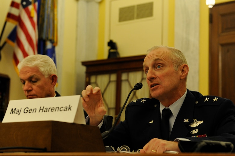 Maj. Gen. Garrett Harencak answers questions regarding the Air Force's development status of the Long Range Strike-Bomber, during the Senate Armed Service Committee's Subcommittee on Strategic Forces hearing on the status of the Air Force nuclear and strategic systems, March 5. Harencak is the Strategic Deterrence and Nuclear Integration assistant chief of staff, Washington, D.C. (U.S. Air Force photo by Staff Sgt. Carlin Leslie)