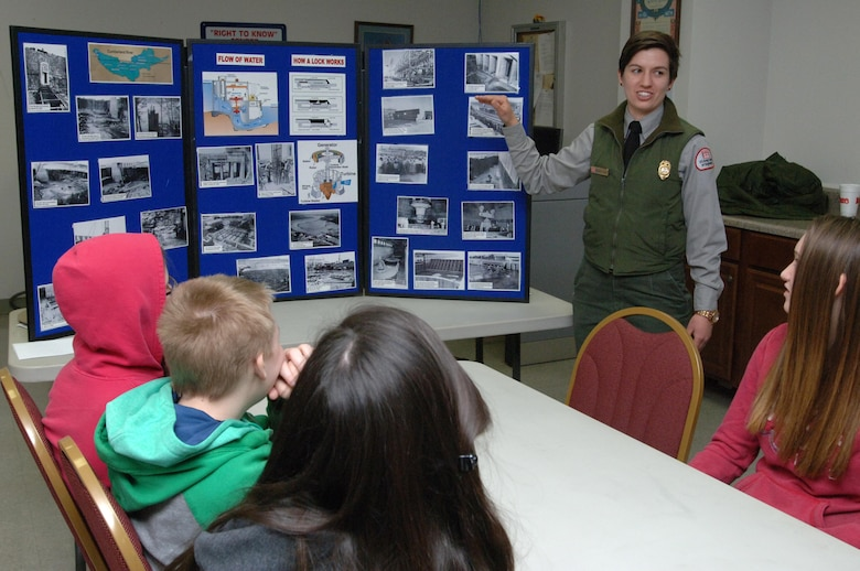 Old Hickory Lake Park Ranger Courtney Eason of the U.S. Army Corps of Engineers Nashville District talks to Stratford STEM Magnet High School freshmen Feb. 27, 2014 about the navigation mission at Old Hickory Dam.