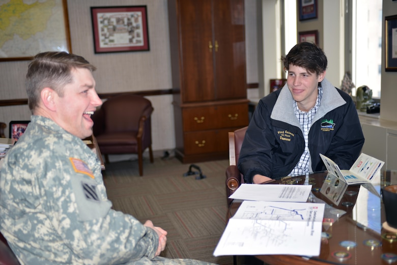 Lt. Col. John L. Hudson, Nashville District commander at the Nashville District (Left) talks with Donovan Sohr,(Right)  a sophomore student from Montgomery Bell Academy in Nashville, Tenn. during a stop at the Nashville District Headquarters located at the Estes Kefauver Federal Building before touring the Old Hickory Dam in Hendersonville, Tenn., on Feb. 28, 2014.