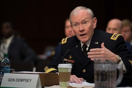 Chairman of the Joint Chiefs of Staff Gen. Martin E. Dempsey testifies before the Senate Armed Services Committee in Washington D.C. March 5, 2013. President Barack H. Obama presented a $3.9 trillion dollar budget plan for Fiscal Year 2015 this week of which $496 billion are allocated for the Defense Department.