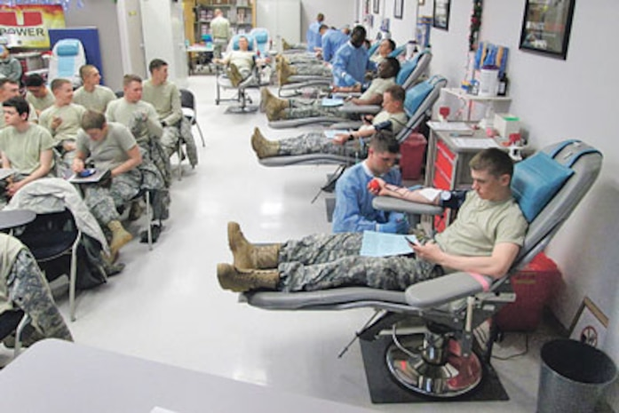 Soldiers from the 4th Maneuver Enhancement Brigade donated 173 units of blood in one three-day drive which earned them the No. 9 spot on the Fort Leonard Wood Blood Donor Center's list of Top 10 Donating Units in 2013.