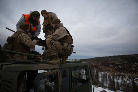 U.S. Marines with Company G, 2nd Battalion, 2nd Marine Regiment, 2nd Marine Division and Norwegian soldiers learn about each other's .50 caliber machine guns prior to a live-fire range March 6, 2014. The Marines and Norwegian soldiers spent the day learning each other's weapons systems and training together prior to exercise Cold Response 2014, which is a multinational and multilateral training exercise. The exercise will feature various types of military training including maritime, land and air operations. The location, above the Arctic Circle in northern Norway, provides a unique cold-weather environment for all forces involved to learn and develop procedures from one another.