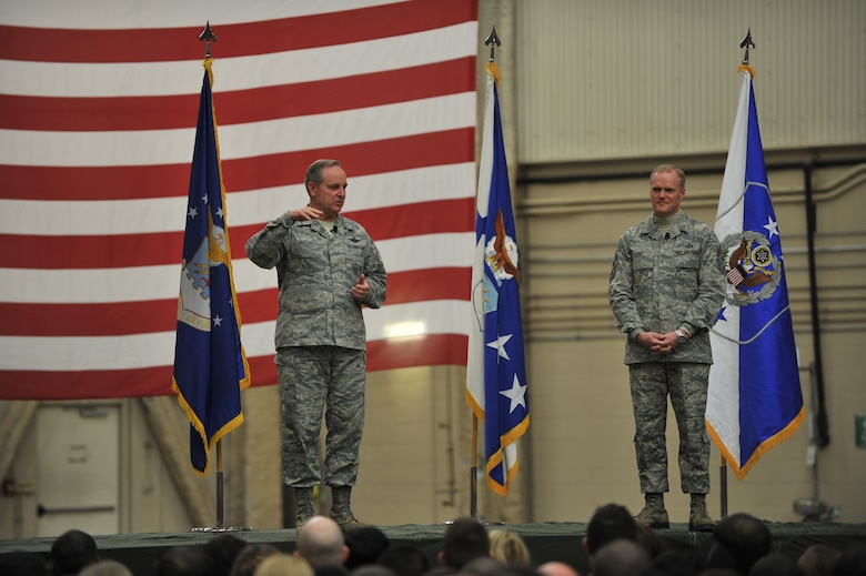 Air Force Chief of Staff Gen. Mark A. Welsh III and Chief Master Sgt. of the Air Force James A. Cody speak with members of the 97th Air Mobility Wing March 6, 2014, at Altus Air Force Base. Welsh and Cody addressed various topics such as sequestration, force structure and sexual assault. (U.S. Air Force photo/Senior Airman Dillon Davis)