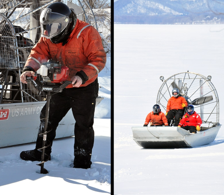 The Corps of Engineers, St. Paul District ice survey team uses an airboat in the Mississippi River, near Lake City, Minn., Feb. 27, to measure the ice thickness within Lake Pepin. The Corps of Engineers measures the ice thickness every spring and the navigation industry uses the information to determine when to break through the ice and begin the shipping season. Lake Pepin ice is traditionally the last hurdle for the navigation industry to deal with before reaching St. Paul, because the ice is usually a lot thicker in the lake due to the slow moving current.