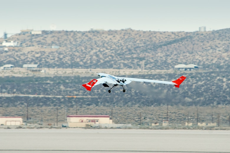 The X-56A Multi-Utility Technology Testbed (MUTT) demonstrator takes its first flight at NASA Dryden Flight Research Center in Edwards, California, in July 2013. (NASA photo)