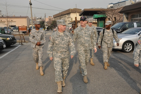 Maj. Gen. Todd T. Semonite, U.S. Army Corps of Engineers deputy commanding general and deputy chief of engineers, tours the Far East District headquarters compound March 4.