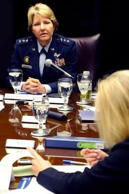 Academy Superintendent Lt. Gen. Michelle D. Johnson takes questions from Pam Zubek, a reporter with the Colorado Springs Independent, March 3, 2014, during a meeting with media representatives from Colorado Springs and Air Force Times. The general made public the Academy's fiscal year 2015 budget impact March 4, 2014. (U.S. Air Force photo/Master Sgt. Kenneth Bellard)
