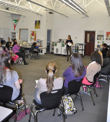 In recognition of Women's History Month, Biologist Suzan Baker and Chemical Engineer Shelia Hint with the U.S. Army Corps of Engineers spoke to a group of female students interested in STEM careers at Tapestry High School, Buffalo, NY, March 10, 2014. 