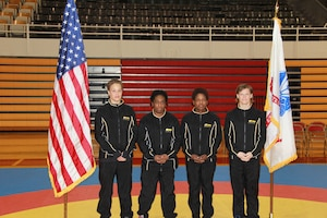 All-Army Wrestlers from left to right: CPT Leigh Provisor, SGT Randi Miller, SGT Othello Feroleto, and SGT Sally Roberts.