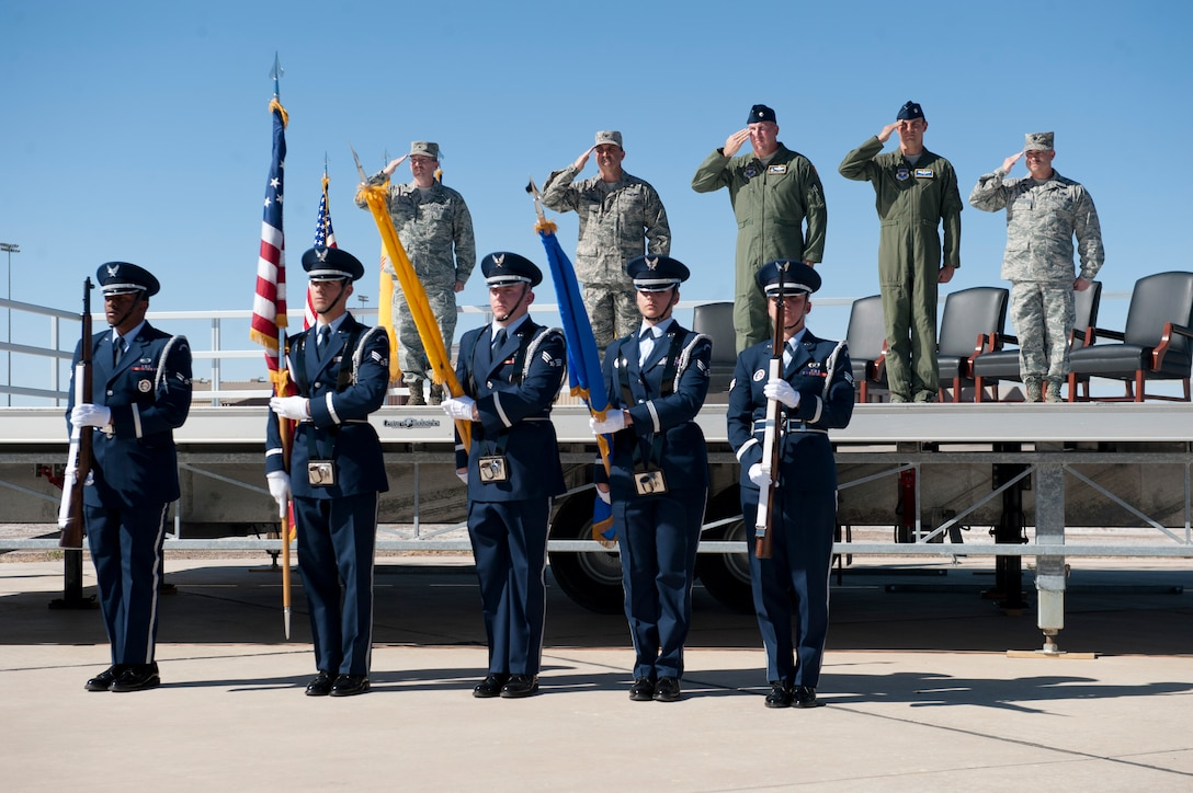 Members of the Steel Talons Honor Guard presented the colors during the 54th Fighter Group activation ceremony at Holloman Air Force Base, N.M., March 11. The 54th Fighter Group, a tenant unit at Holloman, is a detachment of the 56th Fighter Wing at Luke Air Force Base, Ariz., and will ultimately operate two F-16 Fighting Falcon aircraft training squadrons. The 54th Fighter Group plus three squadrons were activated at the ceremony: the 311th Fighter Squadron, the 54th Operations Support Squadron and the 54th Aircraft Maintenance Squadron. (U.S. Air Force photo by Senior Airman Daniel E. Liddicoet/Released)