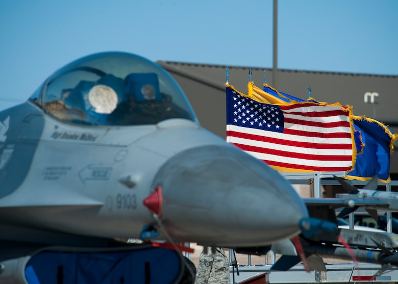 An F-16 Falcon is displayed during the 54th Fighter Group activation at Holloman Air Force Base, N.M., March 11. The 54th Fighter Group, a tenant unit at Holloman, is a detachment the 56th Fighter Wing at Luke Air Force Base, Ariz., and will ultimately operate two F-16 Fighting Falcon aircraft training squadrons. The 54th Fighter Group plus three squadrons were activated at the ceremony: the 311th Fighter Squadron, the 54th Operations Support Squadron and the 54th Aircraft Maintenance Squadron. (U.S. Air Force photo by Airman 1st Class Aaron Montoya / Released)