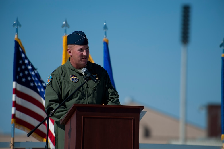 Lieutenant Col. Scott Fredrick, 311th Fighter Squadron commander, delivers a speech during the 54th Fighter Group activation at Holloman Air Force Base, N.M., March 11. The 54th Fighter Group, a tenant unit at Holloman, is a detachment the 56th Fighter Wing at Luke Air Force Base, Ariz., and will ultimately operate two F-16 Fighting Falcon aircraft training squadrons. The 54th Fighter Group plus three squadrons were activated at the ceremony: the 311th Fighter Squadron, the 54th Operations Support Squadron and the 54th Aircraft Maintenance Squadron. (U.S. Air Force photo by Airman 1st Class Aaron Montoya / Released)