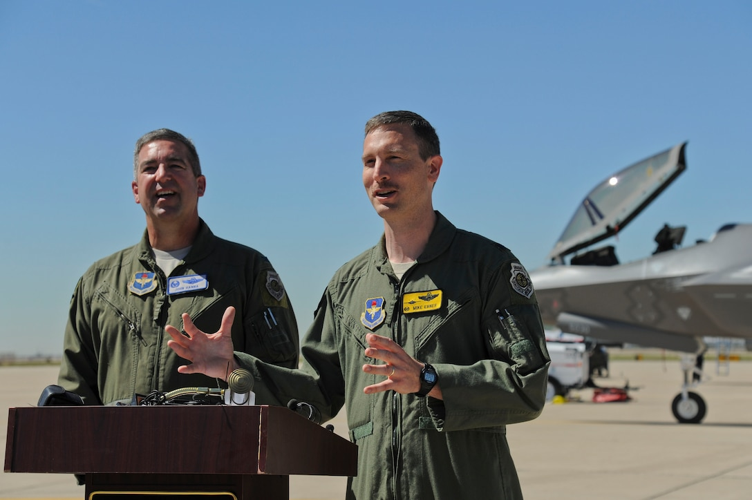 Col. John Hanna, 56th Operations Group commander (left), and Lt. Col. Michael Ebner, 61st Fighter Squadron commander, speak to the media during a press conference regarding the arrival of the first F-35 at Luke AFB on March 10. The 61st FS is Luke's first F-35 squadron. (U.S. Air Force photo/Staff Sgt. Darlene Seltmann)