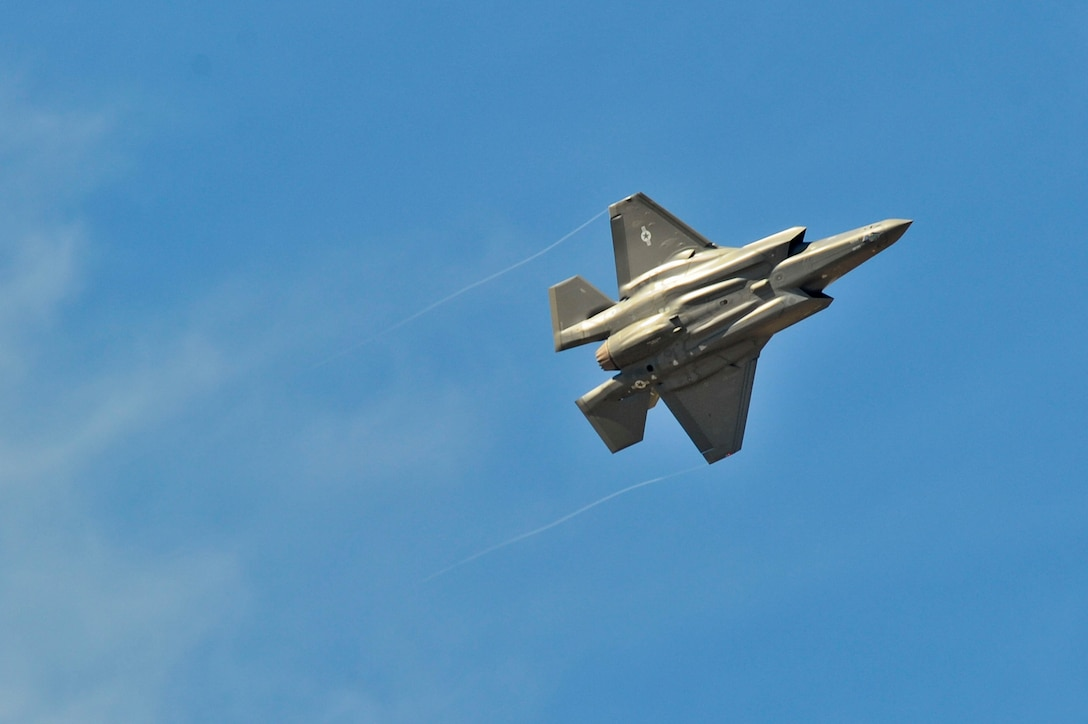 Luke's first F-35 Lightning II flies overhead before it lands on base for the first time on March 10. The jet is the first of 144 F-35s that will eventually be assigned to the base. (U.S. Air Force photo/Staff Sgt. Darlene Seltmann)