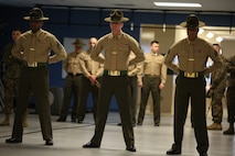 Drill instructors with Platoon 3032, Mike Company, 3rd Recruit Training Battalion, wait to unleash themselves on their recruits shortly after being introduced March 1, 2014, on Parris Island, S.C. This was the first encounter the recruits had with the Marines responsible for the following 12 weeks of training. Mike Company is scheduled to graduate May 23, 2014. Parris Island has been the site of Marine Corps recruit training since Nov. 1, 1915. Today, approximately 20,000 recruits come to Parris Island annually for the chance to become United States Marines by enduring 13 weeks of rigorous, transformative training. Parris Island is home to entry-level enlisted training for 50 percent of males and 100 percent of females in the Marine Corps. (Photo by Cpl. Caitlin Brink)