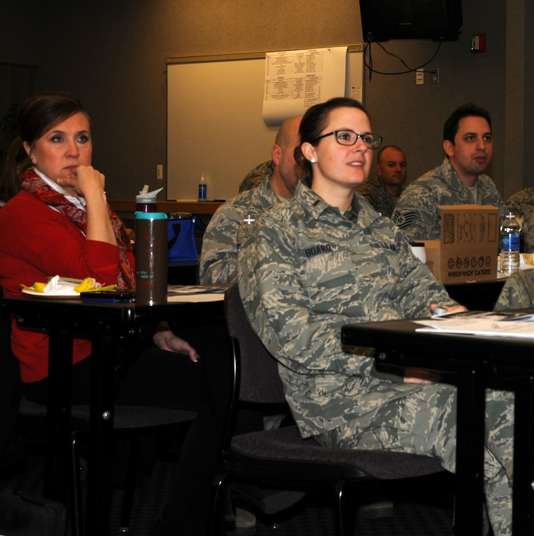The 133rd Airlift Wing's human resource advisor and Wing Culture Council, held a special brown bag lunch and guest speaker in St. Paul, Minn., Feb. 23, 2014. Airmen from the Wing took time out of their busy day to listen to Andre Koen, a diversity trainer in Minnesota, who presented an informative and interactive program on developing cultural competencies. (U.S. Air National Guard photo by Senior Airman Kari Giles/Released)