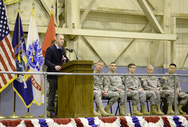 U.S. Rep. Sean Patrick Maloney, 18th congressional district New York, addresses Soldiers, family members, and friends during a pre-deployment ceremony for the 1569th Transportation Company conducted in a hangar at the 105th Airlift Wing, March 9, 2014. (U.S. Air National Guard photo by Tech. Sgt. Michael OHalloran/Released)