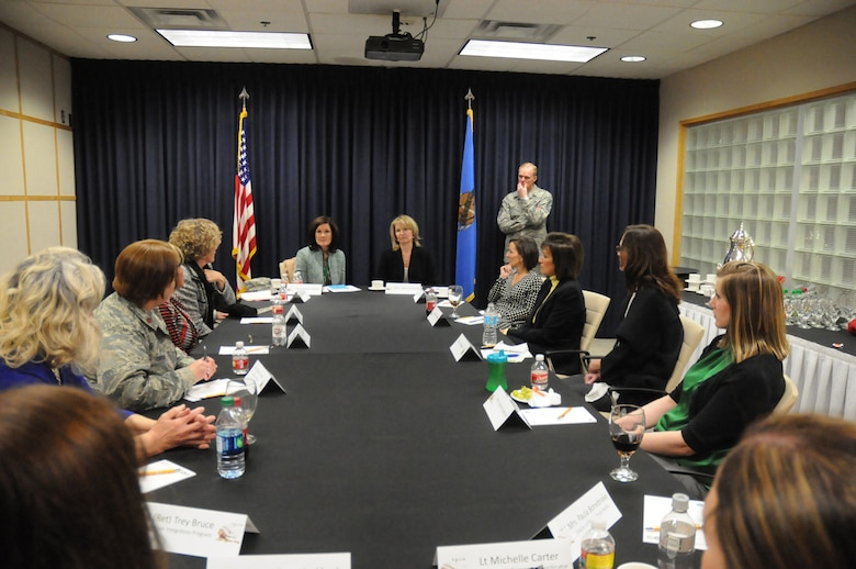 Mrs. Betty Welsh and Mrs. Athena Cody host a round table discussion with various family and support organizations, during their visit to the 138th Fighter Wing, Tulsa Air National Guard, March 7, 2014.  Mrs. Welsh and Mrs. Cody joined their spouses, Air Force Chief of Staff Gen. Mark A. Welsh III and Chief Master Sergeant of the Air Force James A. Cody during the visit to meet and say thank you to the Airmen and families of the 138th FW.  (U.S. National Guard photo by Staff Sergeant Amber Hardison/Released)
