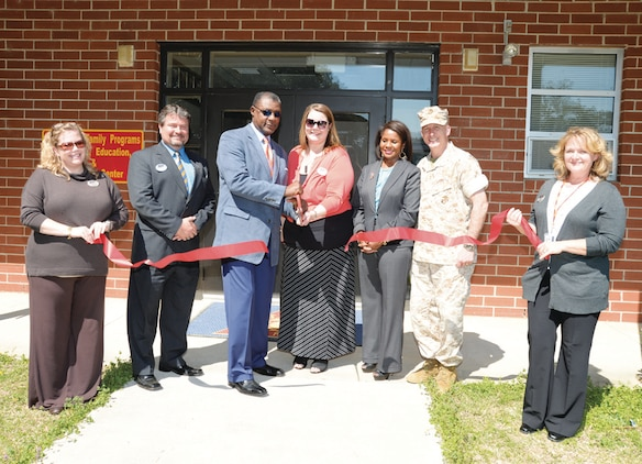 Marine and Family Programs personnel, along with Marine Corps Logistics Base Albany officials, conduct a ribbon cutting ceremony for the Prevention, Education and Counseling Center, March 10. Services include, but are not limited to, family advocacy, sexual assault prevention, substance abuse counseling and victim advocate.