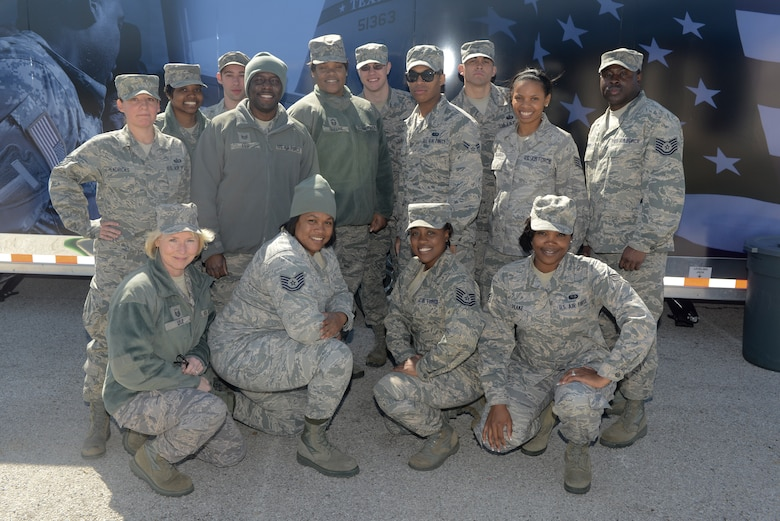 Food Service Specialists with the 116th Force Support Squadron, Services Flight (FSS/FSV), Georgia Air National Guard, Robins Air Force Base, Ga., pose in front of a Deployable Ready Mobile Kitchen Trailer (DRMKT) while training with the 136th FSS/FSV, Texas Air National Guard, at Naval Air Station Fort Worth Joint Reserve Base, Texas, Feb. 22, 2014. Members of the 116th FSS/FSV participated in the two-day training event in anticipation of receiving their own DRMKT in July 2014. (U.S. Air National Guard photos by Master Sgt. Charles Hatton/Released)