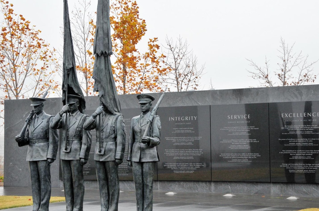 The Air Force core values are engraved in stone as part of the Air Force Memorial in Washington, D.C. Integrity first, service before self and excellence in all we do define each Airman's standard of conduct. (Courtesy photo)