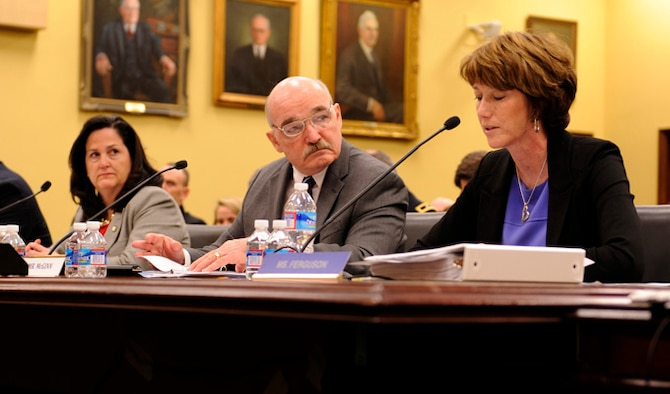 Kathleen Ferguson testifies in front of the House Appropriations Committee to present the fiscal 15 budget for military construction, military family housing, and base realignment and closure requests, March 12, 2014, in Washington, D.C. Ferguson is the principle deputy assistant secretary performing duties as assistant secretary of the Air Force of installations, environment and logistics. (U.S. Air Force photo/Staff Sgt. Carlin Leslie)